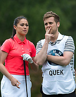 Sam Quek MBE (GBR Hockey) and caddy boyfriend Tom Mairs during the BMW PGA PRO-AM GOLF at Wentworth Drive, Virginia Water, England on 23 May 2018. Photo by Andy Rowland.