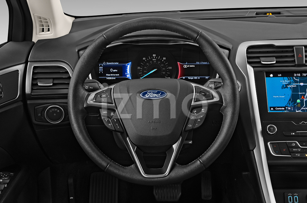 Car pictures of steering wheel view of a 2019 Ford Fusion-Hybrid SEL 4 Door Sedan Steering Wheel