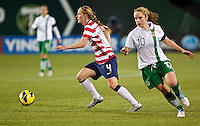 Becky Sauerbrunn looks to pass in the first half. USWNT played played a friendly against Ireland at JELD-WEN Field in Portland, Oregon on November 28, 2012.