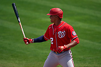 Washington Nationals Juan Soto (22) bats during a Major League Spring Training game against the New York Mets on March 18, 2021 at Clover Park in St. Lucie, Florida.  (Mike Janes/Four Seam Images)
