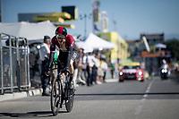 Defending champion Geraint Thomas (GBR/Ineos) rolling over the finish line<br /> <br /> Stage 13 (ITT): Pau to Pau(27km)<br /> 106th Tour de France 2019 (2.UWT)<br /> <br /> ©kramon