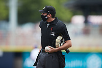 Home plate umpire Zee Zdenek during the game between the Carolina Mudcats and the Kannapolis Cannon Ballers at Atrium Health Ballpark on June 13, 2021 in Kannapolis, North Carolina. (Brian Westerholt/Four Seam Images)