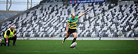 Isaak Te Hiwi of Green Island kicks for goal during the Dunedin Premier club rugby final between Green Island and Taieri played at Forsyth Barr Stadium in Dunedin, on Saturday 31st July, 2021. © John Caswell/Caswell Images