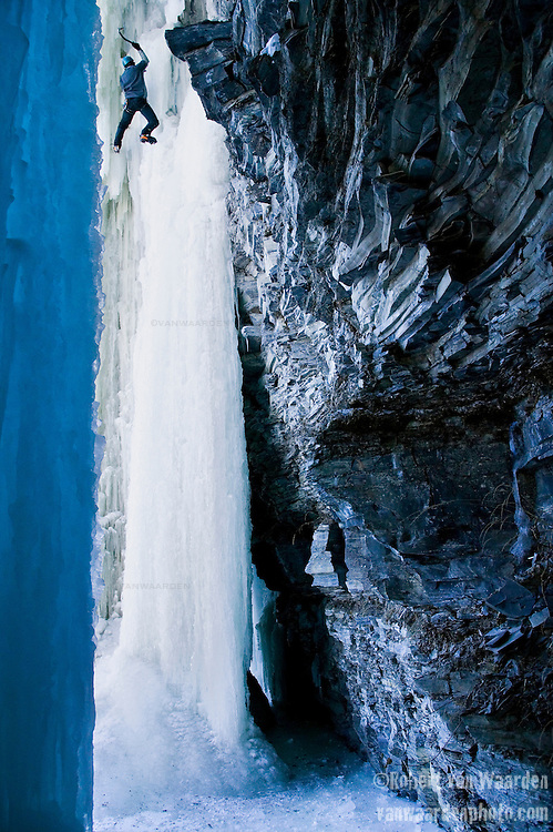 Ice climbing at Pont Rouge, Quebec.