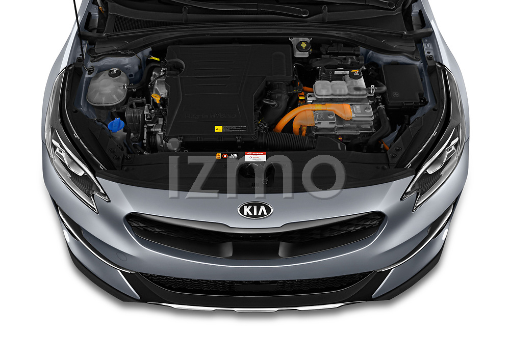 Car Stock 2020 KIA XCeed-PHEV Business-Line 5 Door SUV Engine  high angle detail view