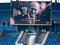 13th April 2021; The John Smiths Stadium, Huddersfield, Yorkshire, England; English Football League Championship Football, Huddersfield Town versus Bournemouth; His Royal Highness, The Prince Philip, Duke of Edinburgh is displayed on the large screen as players observe a minute silence to honour his life after he died in Windsor Castle  on 9th April 2021