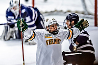 9 February 2019: University of Vermont Catamount Forward Ace Cowans, a Sophomore from Beverly, MA, celebrates a third period goal against the University of New Hampshire Wildcats at Gutterson Fieldhouse in Burlington, Vermont. The Catamounts defeated the Wildcats 4-1 to split their 2-game Hockey East weekend series. Mandatory Credit: Ed Wolfstein Photo *** RAW (NEF) Image File Available ***