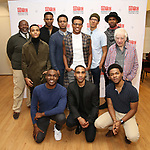 "Back row: Chuck Cooper, Nicholas L. Ashe, Daniel Bellomy,  J. Quinton Johnson, Jeremy Pope, Caleb Eberhardt, John Clay and Austin Pendleton Front row: Gerald Caesar, Jonathan Burke and Marcus Gladney during the MTC Broadway Cast Call for ""Choir Boy"" at The MTC Rehearsal Studios on November 20, 2018 in New York City."