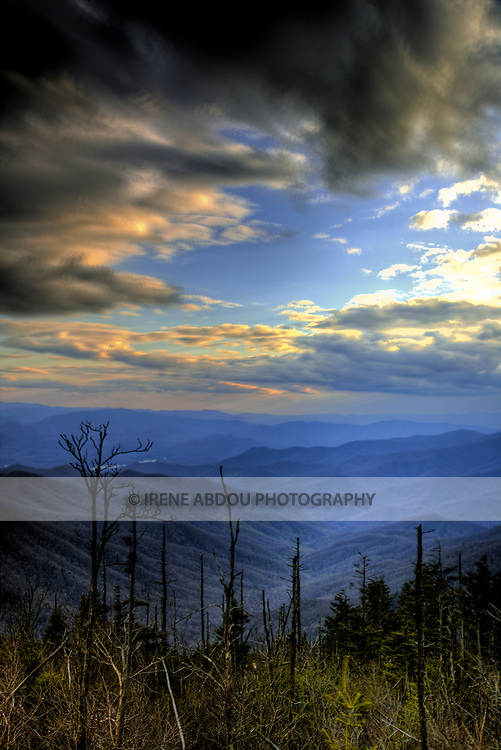 The clouds part after a spring thunderstorm above Clingman's Dome in the Smoky Mountains National Park, Tennessee.