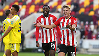 Marcus Forss celebrates scoring Brentford's opening goal during Brentford vs Fulham, Caraboa Cup Football at the Brentford Community Stadium on 1st October 2020