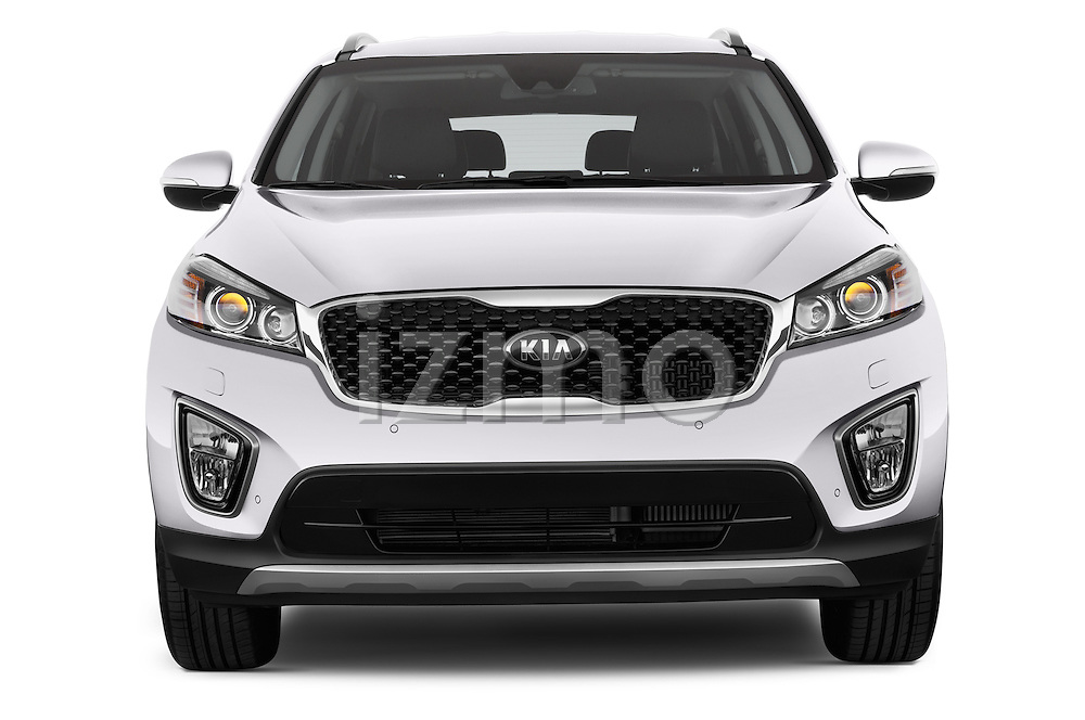 Car photography straight front view of a 2015 KIA Sorento Fusion AWD 5 Door Suv Front View
