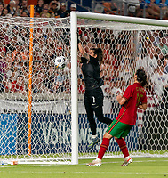 HOUSTON, TX - JUNE 10: Ines Pereira #1 of Portugal makes a save during a game between Portugal and USWNT at BBVA Stadium on June 10, 2021 in Houston, Texas.