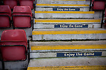 Crewe Alexandra 1 Leyton Orient 2, 18/01/2014. Gresty Road, League One. Signs inviting fans to 'enjoy the game' on steps at the Alexandra Stadium on Gresty Road, Crewe, the home of Crewe Alexandra before their home game against Leyton Orient in the SkyBet League One. The match was won by the visitors from London by 2-1 with two goals on debut by Chris Dagnall, sending Orient to the top of the league. The match was watched by 4830 spectators. Photo by Colin McPherson