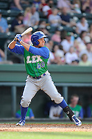 Center fielder Dominique Taylor (40) of the Lexington Legends bats in a game against the Greenville Drive on Sunday, April 27, 2014, at Fluor Field at the West End in Greenville, South Carolina. Greenville won, 21-6. (Tom Priddy/Four Seam Images)
