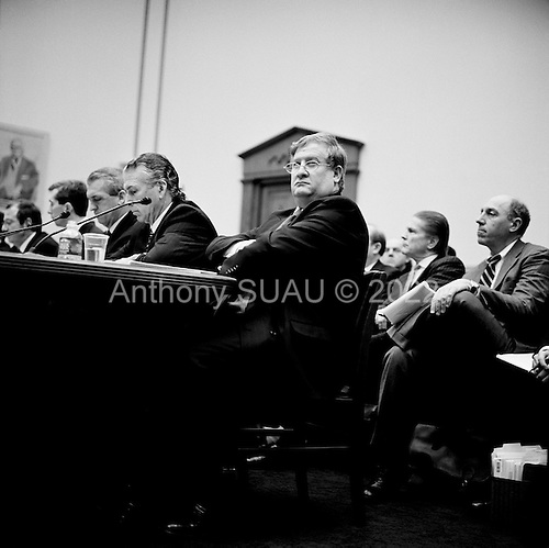 Washington DC, <br /> District of Columbia<br /> February 7, 2007<br /> <br /> Directors of the worldwide contractor, Blackwater, are questioned during a hearing on Capitol Hill in Washington, DC. The hearing was held to examine the contractor's system that provides backup services for the military in the war in Iraq.
