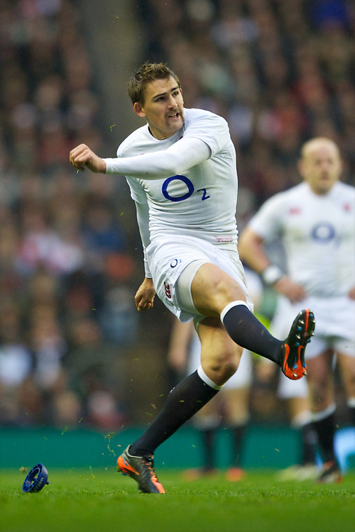 Toby Flood of England missed two out of three penalty kicks in the first half during the QBE Autumn International match between England and South Africa at Twickenham on Saturday 24 November 2012 (Photo by Rob Munro)