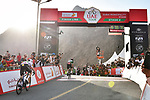 Green Jersey holder Caleb Ewan (AUS) Lotto-Soudal outsprints Irish Champion Sam Bennett (IRL) Deceuninck-Quick Step to win Stage 2 the Dubai Municipality Stage of the UAE Tour 2020 running 168km from Hatta to Hatta Dam, Dubai. 24th February 2020.<br /> Picture: LaPresse/Massimo Paolone   Cyclefile<br /> <br /> All photos usage must carry mandatory copyright credit (© Cyclefile   LaPresse/Massimo Paolone)
