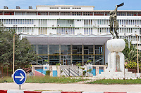 Dakar, Senegal.  Soweto Square (Place Soweto) with National Assembly Building in background.