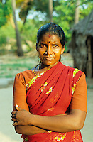 INDIA Tamil Nadu, portrait of dalit woman / INDIEN Portraet Dalit Frau
