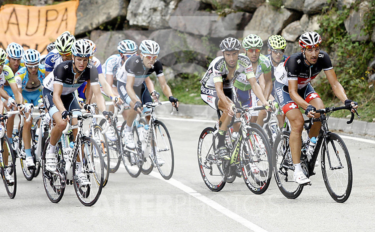 (R to L)Fabian Cancellara and Juan Jose Cobo lidering the group during during the stage of La Vuelta 2011 between Astorga and La Farrapona.Lagos de Somiedo.September 3,2011. (ALTERPHOTOS/Alfaqui/Paola Otero)