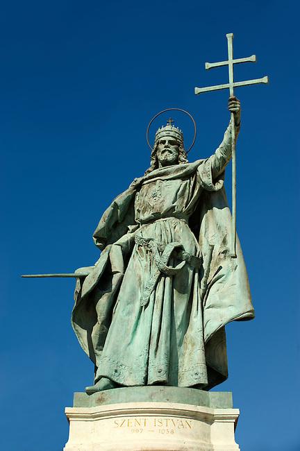 Statue of Saint Istvan ( Stephan) , King. H?sök tere, ( Heroes Square ) Budapest Hungary