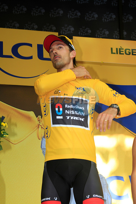 Fabian Cancellara (SUI) Radioshack-Nissan wins by 7 seconds and wears the first Yellow Jersey at the end of the Prologue of the 99th edition of the Tour de France 2012, a 6.4km individual time trial starting in Parc d'Avroy, Liege, Belgium. 30th June 2012.<br /> (Photo by Eoin Clarke/NEWSFILE)