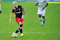 WASHINGTON, DC - NOVEMBER 8: Erick Sorga #50 of D.C. United moves the ball during a game between Montreal Impact and D.C. United at Audi Field on November 8, 2020 in Washington, DC.