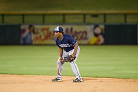 AZL Padres second baseman Eguy Rosario (1) on defense against the AZL Cubs on August 28, 2017 at Sloan Park in Mesa, Arizona. AZL Cubs defeated the AZL Padres 2 9-4. (Zachary Lucy/Four Seam Images)