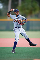 Detroit Tigers shortstop Jose King (3) during practice before an Instructional League game against the Pittsburgh Pirates October 6, 2017 at Pirate City in Bradenton, Florida.  (Mike Janes/Four Seam Images)