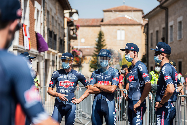 Alpecin-Fenix at sign on before Stage 2 of La Vuelta d'Espana 2021, running 166.7km from Caleruega. VIII Centenario de Santo Domingo de Guzmán to Burgos. Gamonal, Spain. 15th August 2021.    <br /> Picture: Unipublic/Charly Lopez | Cyclefile<br /> <br /> All photos usage must carry mandatory copyright credit (© Cyclefile | Unipublic/Charly Lopez)