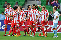 MELBOURNE, AUSTRALIA - FEBRUARY 12: Rutger Worm of the Heart celebrates his goal in the round 27 A-League match between the Melbourne Heart and Sydney FC at AAMI Park on February 12, 2011 in Melbourne, Australia. (Photo Sydney Low / AsteriskImages.com)