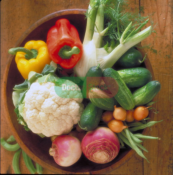 bowl with peppers, anise, cauliflower, cucumbers, peppers, turnips, beans