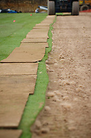 Friday 22 February 2013<br /> <br /> Pictured: Laying turf at Swansea City FC's New Academy & Training ground<br /> RE: