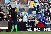 ST. PAUL, MN - AUGUST 21: Remi Walter #54 of Sporting Kansas City leaves the stadium due to a red card during a game between Sporting Kansas City and Minnesota United FC at Allianz Field on August 21, 2021 in St. Paul, Minnesota.