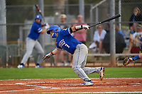 Indiana State Sycamores Brian Fuentes (3) bats during the teams opening game of the season against the Pitt Panthers on February 19, 2021 at North Charlotte Regional Park in Port Charlotte, Florida.  (Mike Janes/Four Seam Images)