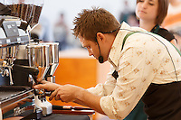 MELBOURNE 3 MARCH 2013 - Tim Adams competing in the finals of the 2013 AASCA Australian Barista Championship at the Melbourne Showgrounds. Photo by Sydney Low / syd-low.com
