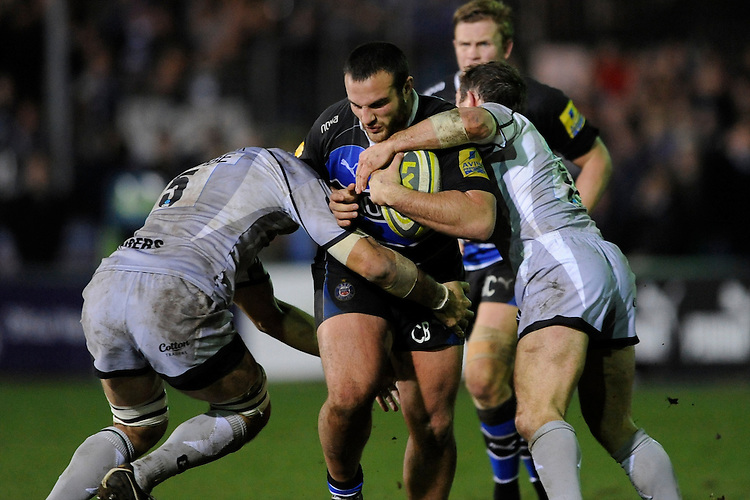 Charlie Beech of Bath Rugby is tackled during the LV= Cup semi final match between Bath Rugby and Leicester Tigers at The Recreation Ground, Bath (Photo by Rob Munro, Fotosports International)