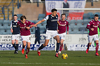 13th March 2021; Dens Park, Dundee, Scotland; Scottish Championship Football, Dundee FC versus Arbroath; Osman Sow of Dundee holds off James Craigen of Arbroath