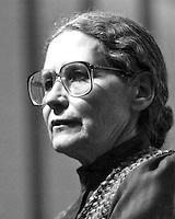 Doris Lessing novelist author of The Golden Notebook and Nobel Prize winner speaking at Morse Auditorium Boston University Boston MA April 12, 1984