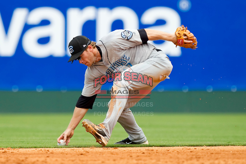 Second baseman Matt Antonelli #17 of the Syracuse Chiefs bare hands the ball against the Charlotte Knights at Knights Stadium on June 19, 2011 in Fort Mill, South Carolina.  The Knights defeated the Chiefs 10-9.    (Brian Westerholt / Four Seam Images)