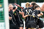 GER - Mannheim, Germany, May 25: Players of Germany celebrate after scoring a late minute goal during the U16 Girls match between The Netherlands (orange) and Germany (black) during the international witsun tournament on May 25, 2015 at Mannheimer HC in Mannheim, Germany. Final score 1-1 (1-0). (Photo by Dirk Markgraf / www.265-images.com) *** Local caption *** (l-r) Emma Boermans #21 of Germany, Emily Kerner #17 of Germany, Emely Vysoudil #10 of Germany, Clara Roth #6 of Germany, Sonja Zimmermann #13 of Germany
