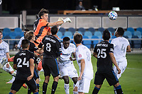 SAN JOSE, CA - NOVEMBER 04: JT Marcinkowski #18 of the San Jose Earthquakes punches the ball away during a game between Los Angeles FC and San Jose Earthquakes at Earthquakes Stadium on November 04, 2020 in San Jose, California.