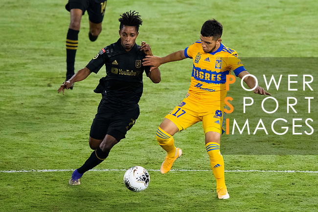 Leonardo Fernandez of Tigres UANL (MEX) and Latif Blessing of Los Angeles FC (USA) during their CONCACAF Champions League Final match at the Orlando's Exploria Stadium on 22 December 2020, in Florida, USA. Photo by Victor Fraile / Power Sport Images