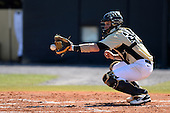 Central Florida Knights catcher Kyle Perkins (24) during a game against the Siena Saints at Jay Bergman Field on February 16, 2014 in Orlando, Florida.  UCF defeated Siena 9-6.  (Copyright Mike Janes Photography)