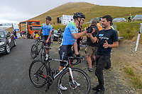 Rylee Field (left) and Kees Duyvesteyn (New Zealand/Team BridgeLane) celebrate taking the top two placings in stage four of the NZ Cycle Classic UCI Oceania Tour (Te Wharau-Admiral Hill Queen Stage) in Wairarapa, New Zealand on Saturday, 18 January 2020. Photo: Dave Lintott / lintottphoto.co.nz