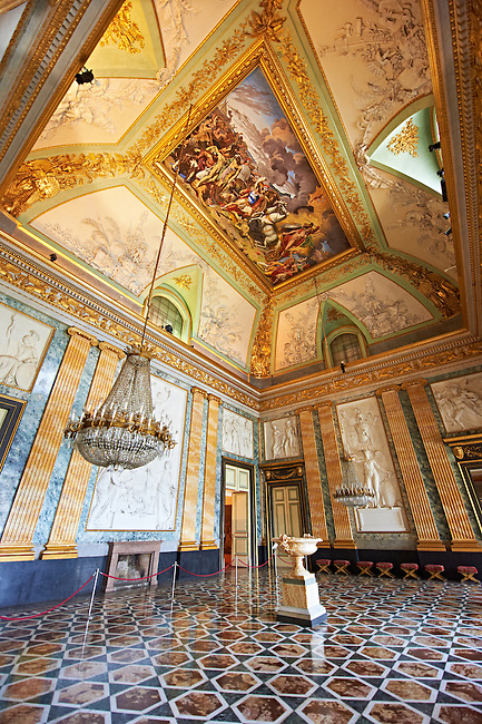 The Room of Mars - The Neoclassical fresco by Antonia Gallianop painted in 1815, represents the death of Hector and the triumph of Hector. The furniture is in Empire style and the Alabaster vase in the middle of the room was donated by Pius IX  .The Kings of Naples Royal Palace of Caserta, Italy. A UNESCO World Heritage Site