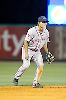 Greenville Drive shortstop Tzu-Wei Lin (36) on defense against the Charleston RiverDogs at Joseph P. Riley, Jr. Park on May 26, 2014 in Charleston, South Carolina.  The Drive defeated the RiverDogs 11-3.  (Brian Westerholt/Four Seam Images)