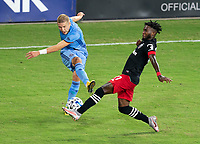WASHINGTON, DC - SEPTEMBER 06: Anton Tinnerholm #3 of New York City FC has his cross blocked by Oniel Fisher #91 of D.C. United during a game between New York City FC and D.C. United at Audi Field on September 06, 2020 in Washington, DC.