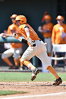 Tennessee Volunteers shortstop Max Bartlett (19) runs to first during a game against the South Carolina Gamecocks at Lindsey Nelson Stadium on March 18, 2017 in Knoxville, Tennessee. The Gamecocks defeated Volunteers 6-5. (Tony Farlow/Four Seam Images)