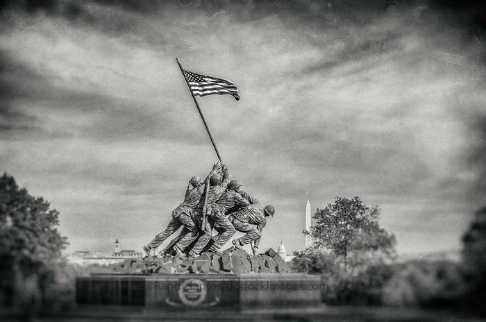 Iwo Jima Memorial - Marine Corp Memorial Washington DC Black and White Photography Washington DC Art - - Framed Prints - Wall Murals - Metal Prints - Aluminum Prints - Canvas Prints - Fine Art Prints Washington DC Landmarks Monuments Architecture